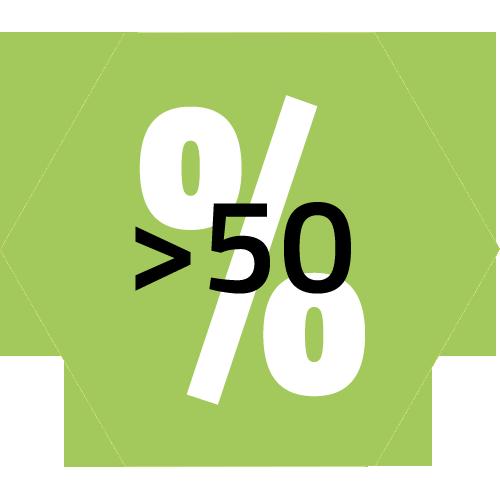 Prozentangaben 50> grün